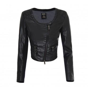 w-cropped biker jacket