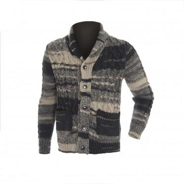m-cardigan maglia ml grigio fantasia